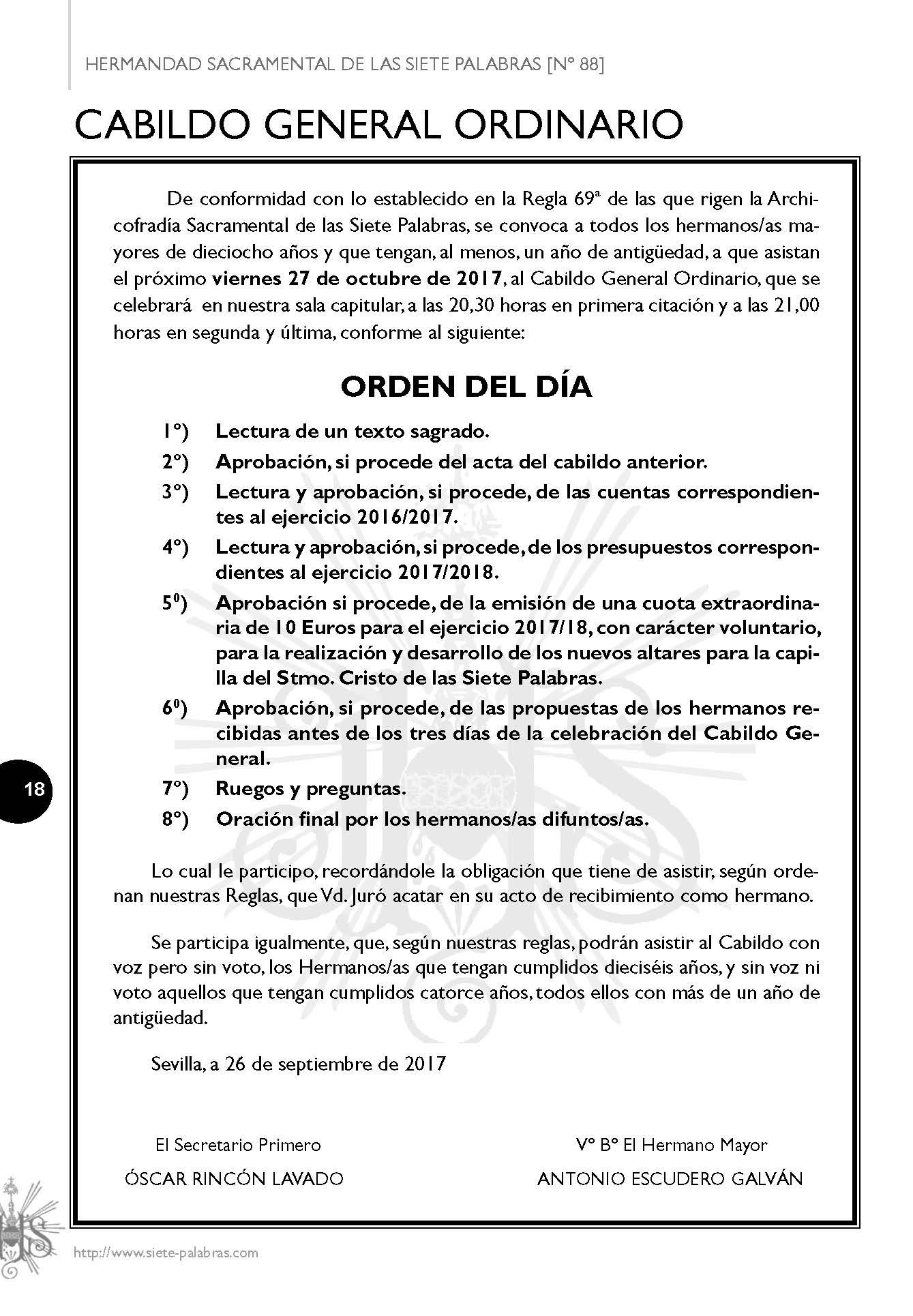 ORDEN DEL DÍA CABILDO GENERAL 27-10-2017