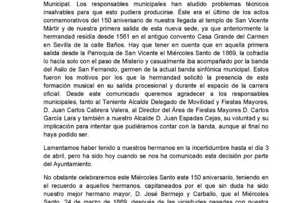 COMUNICADO DE LA ARCHICOFRADÍA SACRAMENTAL DE LAS SIETE PALABRAS v1