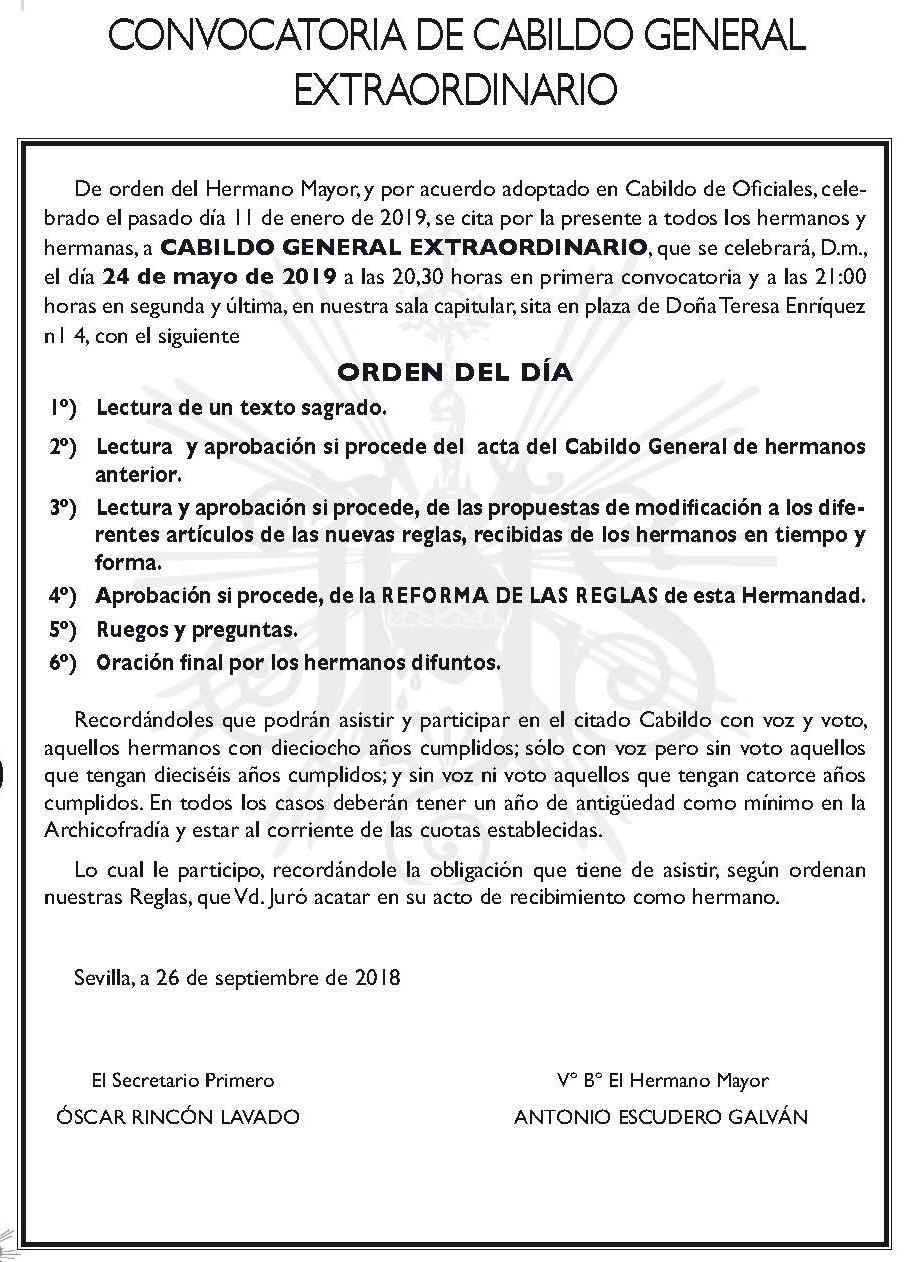 CONVOCATORIA CABILDO REGLAS 2019