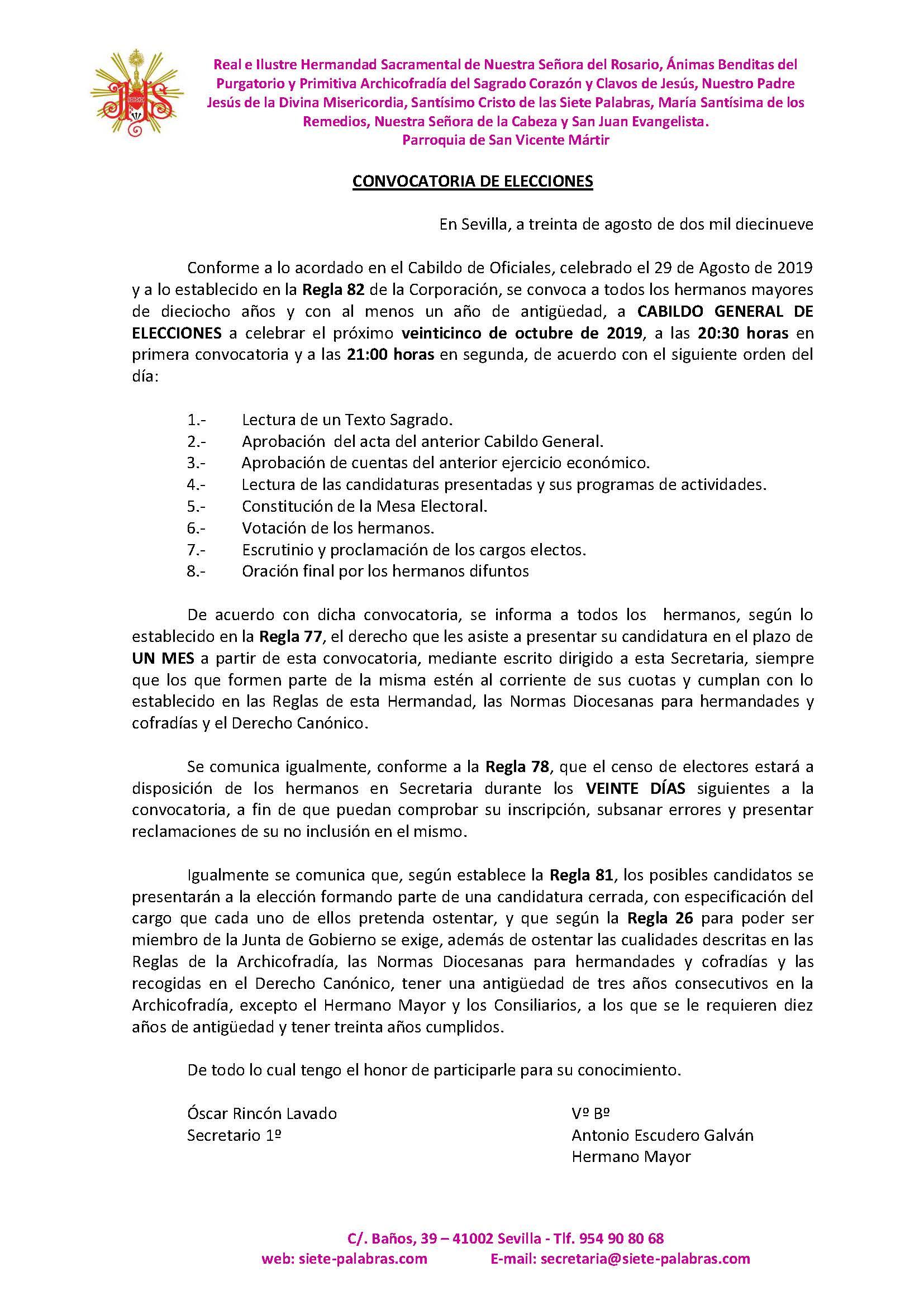 CONVOCATORIA ELECCIONES 2019